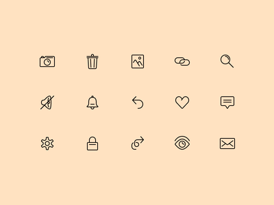 Icons comment settings eye arrows mute search link photo trash camera icon icons