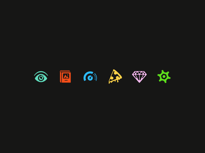 more bits icons icon gear diamond pizza volume book eye