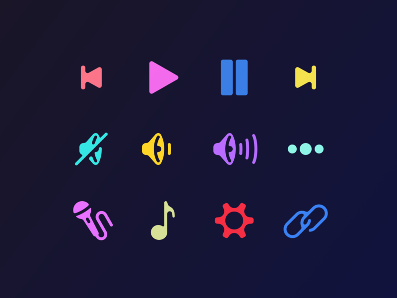 music icons icons icon link settings song microphone pause play volume