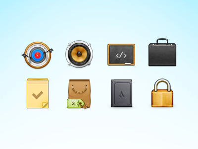 64px icon icon set briefcase chalkboard book shopping notes lock speaker target 64px