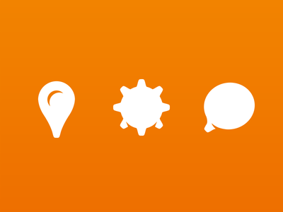 Icons maps settings gear chat location