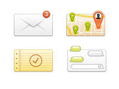 Some Icons icons icon psd envelope mail maps locations notes chat messages