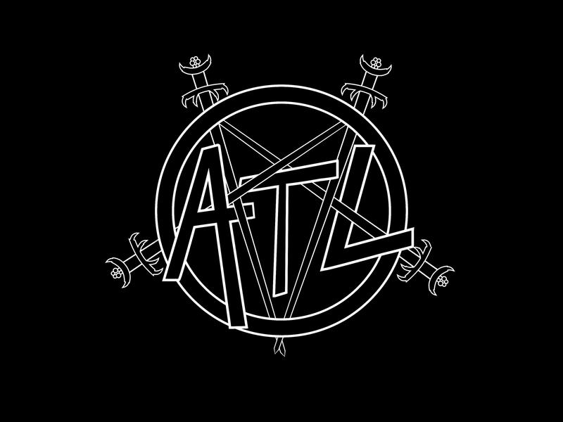 Slay ATL evil satanic pentagram swords 80s rock logo atl atlanta metal slayer