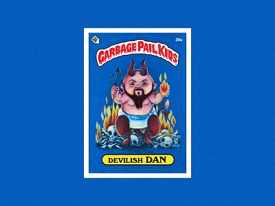 Devlish Dan flames bones pitchfork devil monsters collector nerd cards illustration 80s garbage pail kids gpk