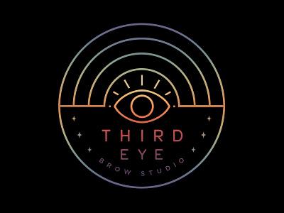 Third Eye Brow Studio monoline linework beauty logo cosmetic logo magic hippie rainbow mystic illuminati eye