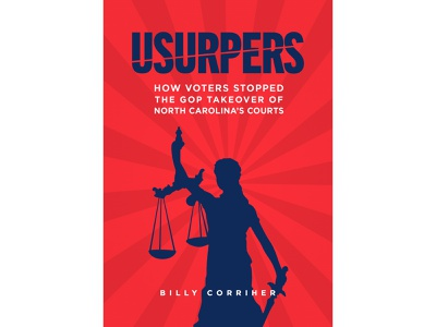 Usurpers red white blue burst book cover silhouette justice lady justice america government voting politics political book