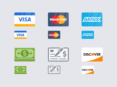 Payment Icons icon credit card visa mastercard american express discover check cash psd free vector