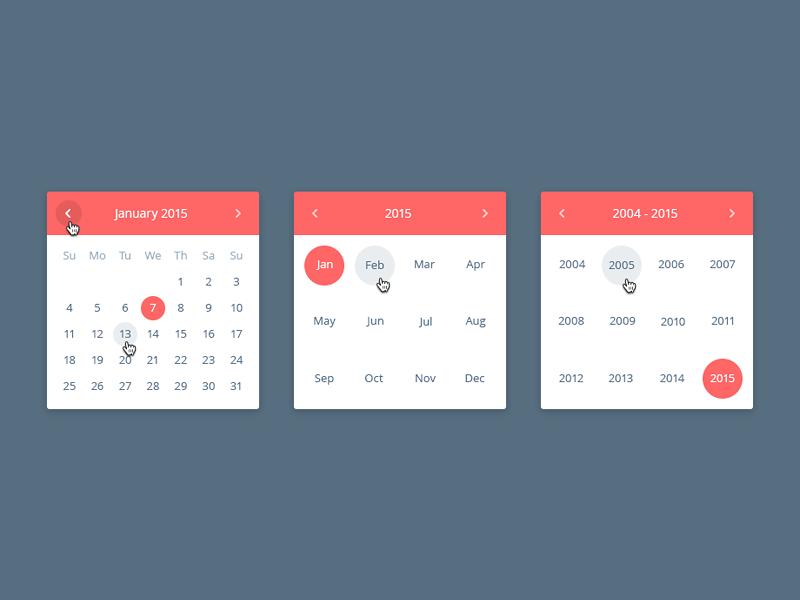 Date Picker Free PSD ui web date calendar red month free psd
