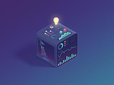 API Cube affinity designer dashboard power settings code isometric api data illustration