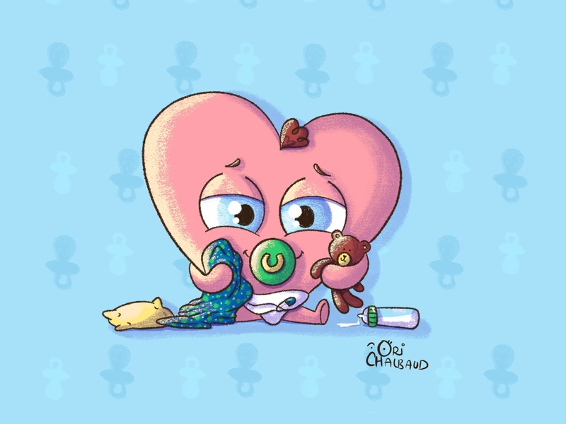 Baby heart! toddlers character design animation drawing digital art illustration heart baby heart baby