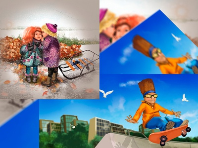 illustration for a Shoe company graphics illustration children child design autumn winter game sled girl and boy