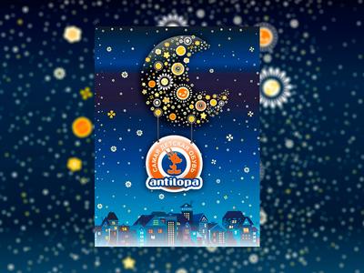 illustration for a Shoe company night city stars flowers city moon night vector logo design illustration