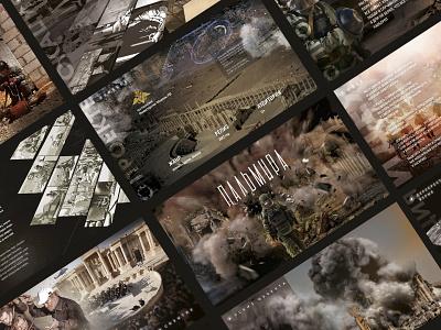 """Presentation for the film """"Palmyra"""" film design graphics illustration collage presentation graphic design"""