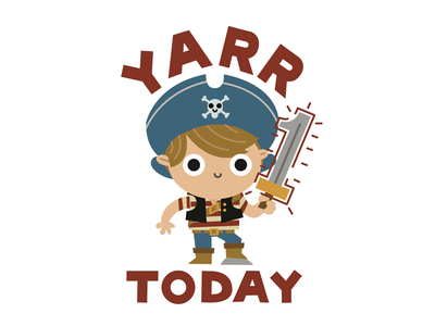 YARR 1 TODAY! character design birthday pirate birthday card
