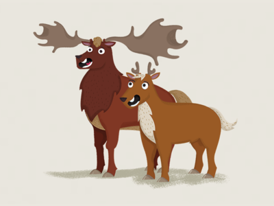 Oisín the Deer and Ruairi the Fawn character design illustration mascots fawn deer