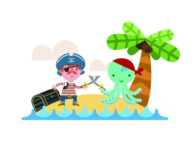 Pirate Vs Octopus octopus kids bedroom pirate