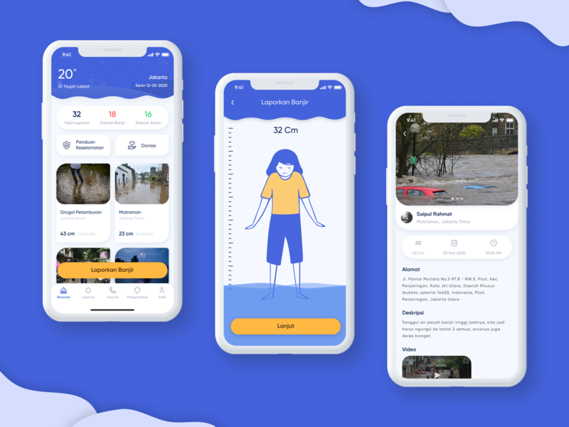 Flood monitoring app cards mobile apps mobile yellow icon figma micro interaction interaction weather monitoring blue design ios illustration app mobile ui mobile app design ux mobile app ui