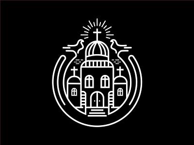 church monoline badge lineart badge logo religion cristian monoline church