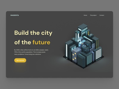 City of the future - landing page minimal illustration city magicavoxel isometric illustration simple clean figma bordeaux interface design french designer landingpage