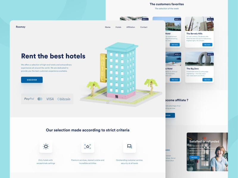 Hotel rental - Landing page landingpage rental hotel isometric illustration magicavoxel illustration design simple clean figma interface design bordeaux french designer