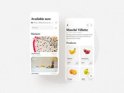 Fruit and vegetable market dailyui uxui market vegetable fruits minimal app simple clean figma interface design bordeaux french designer