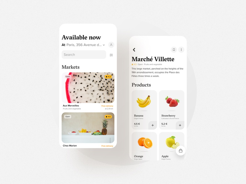 Fruit and vegetable market dailyui uxui market vegetable fruits minimal app simple clean figma interface design bordeaux french designer