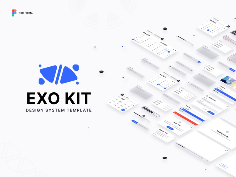 EXO KIT Design System isometric clean template exo bordeaux french designer interface design ui kit figma freebies free kits ui kit system design