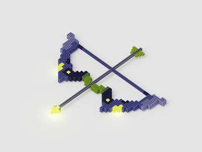 Legendary Bow french designer bordeaux blender3d voxel magica voxel cyberpunk design daily blender illustration 3d sci fi arrow weapon bow archery