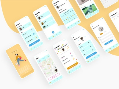 Free UI kit 02 preview : pet walking app