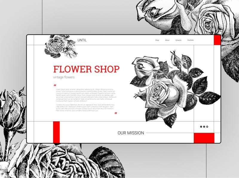 roses shop main page flowershop rose roses flowers ux typography vector illustration website concept website ui web concept design