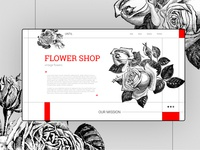 roses shop main page flowershop rose roses flowers ux typography vector illustration website concept website ui web concept design