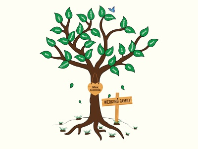 Tree Illustration For Family Reunion colorful art yellow family reunion green dribbble illustraion tree