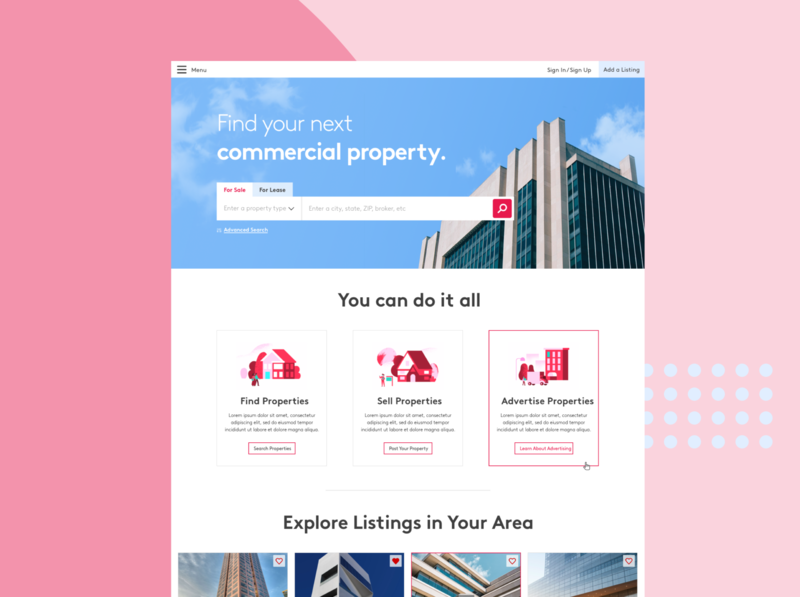 Property Finder Landing Page brown real estate realestate explore building toggle search bar search home screen homepage home landing page landingpage crest property