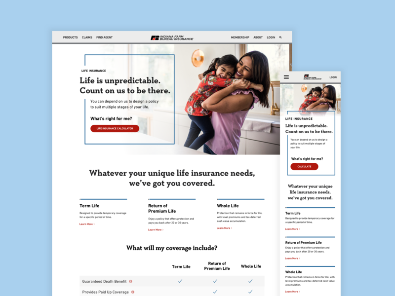 Life Insurance Home Page light airy brand red blue photography uxui uidesign user interface family insurance mobiledesign responsive webdesign website