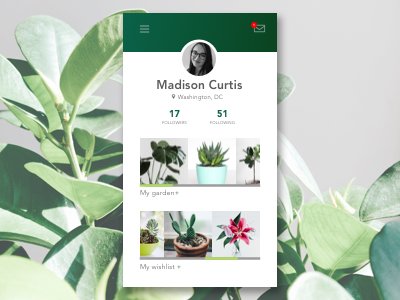Daily UI #006 - User Profile houseplants plants user interface profile daily ui 006 dailyui006 daily ui dailyui user profile