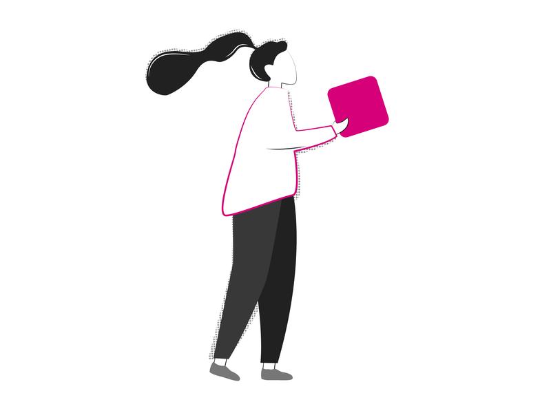 Woman with Building Block block flat organic simple line art woman illustrator doodle illustration
