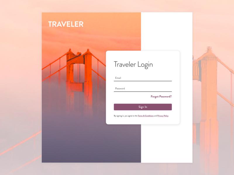 Log In Screen san fran shadows web travel form login page login ui