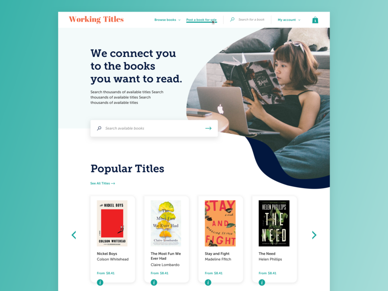 Book Trading WIP navy teal search box cards reading organic shape web design books ux ui