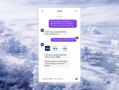 Daily UI #013: Direct Messaging purple booking ticket chat app chatbot flight direct message user interface daily ui dailyui ui