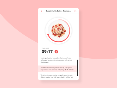 Daily UI #014: Timer light interface pink scroll design steps bonappetit cooking recipe 14 dailyui014 timer user interface daily ui dailyui ui