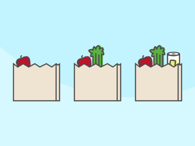 Grocery Shopping Illustrations simple store shop iconography onboarding grocery store grocery shopping celery apple vector line icon illustration