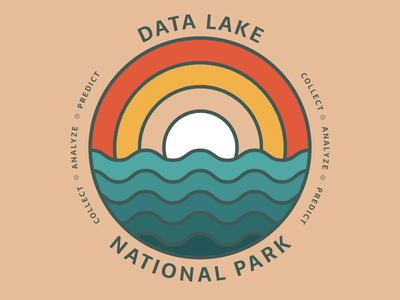 Data Lake National Park - Reporting Team T-Shirt Concept first post data lake data analytics national park retro illustration logo element 84