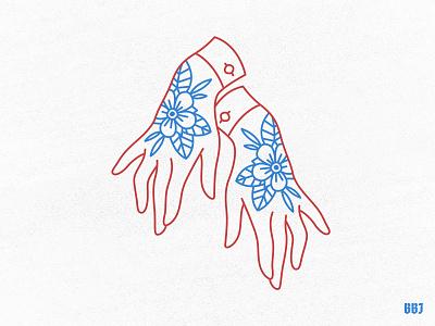 beauty blackboozeillustrations traditional flower love digital vector art illustration hands hand tattoo