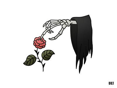 rose reaper digital tattooart dead death balckboozeillustrations vector art illustration reaper rose