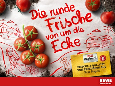 Rewe Commercial. tomatoe fresh food red artcoreillustrations type typography illustration rewe