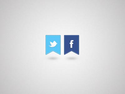 Twitter & Facebook twitter facebook blue artcore bird cotton