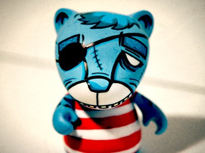 Bear Munny munny toy bear artcore blue white red pirate sea stripes