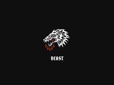 Beast illustration art white black icon wild danger blood beast wolf