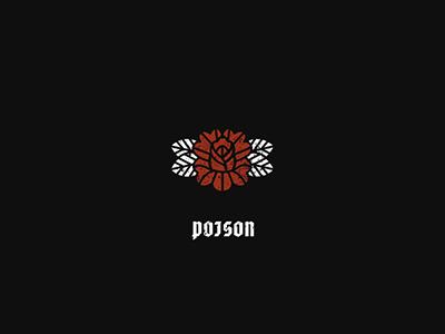 Poison illustration art white black icon red flower leaf love rose