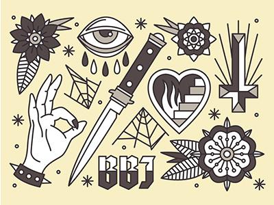 Tattoo Flash cross eye flower dagger heart tattoo hand icon logo vector illustration blackboozeillustrations